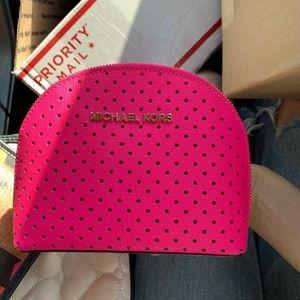 Michael Kors Neon pink perforated Cosmetic Bag